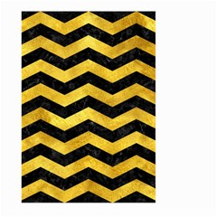 Chevron3 Black Marble & Gold Paint Large Garden Flag (two Sides) by trendistuff