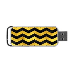 Chevron3 Black Marble & Gold Paint Portable Usb Flash (two Sides) by trendistuff