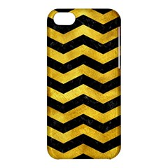 Chevron3 Black Marble & Gold Paint Apple Iphone 5c Hardshell Case by trendistuff