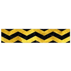 Chevron3 Black Marble & Gold Paint Small Flano Scarf