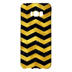 Chevron3 Black Marble & Gold Paint Samsung Galaxy S8 Plus Hardshell Case  by trendistuff