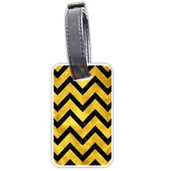 Chevron9 Black Marble & Gold Paint Luggage Tags (two Sides) by trendistuff
