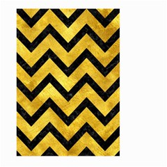 Chevron9 Black Marble & Gold Paint Large Garden Flag (two Sides) by trendistuff