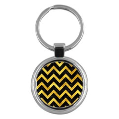 Chevron9 Black Marble & Gold Paint (r) Key Chains (round)  by trendistuff