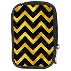 Chevron9 Black Marble & Gold Paint (r) Compact Camera Cases by trendistuff