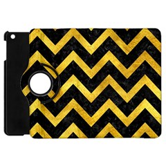 Chevron9 Black Marble & Gold Paint (r) Apple Ipad Mini Flip 360 Case by trendistuff