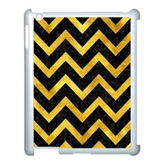 Chevron9 Black Marble & Gold Paint (r) Apple Ipad 3/4 Case (white) by trendistuff