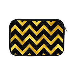 Chevron9 Black Marble & Gold Paint (r) Apple Ipad Mini Zipper Cases by trendistuff