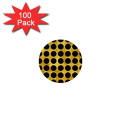 Circles1 Black Marble & Gold Paint 1  Mini Buttons (100 Pack)  by trendistuff