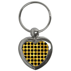 Circles1 Black Marble & Gold Paint Key Chains (heart)  by trendistuff