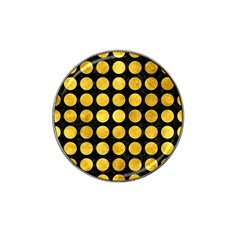 Circles1 Black Marble & Gold Paint (r) Hat Clip Ball Marker by trendistuff