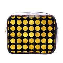 Circles1 Black Marble & Gold Paint (r) Mini Toiletries Bags by trendistuff
