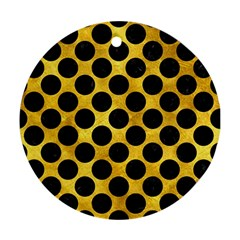 Circles2 Black Marble & Gold Paint Ornament (round) by trendistuff