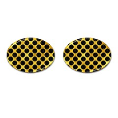 Circles2 Black Marble & Gold Paint Cufflinks (oval) by trendistuff
