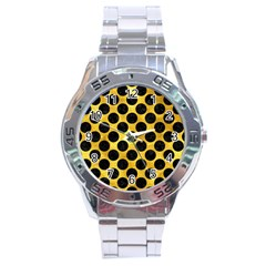 Circles2 Black Marble & Gold Paint Stainless Steel Analogue Watch by trendistuff