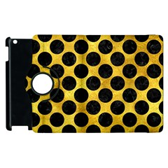 Circles2 Black Marble & Gold Paint Apple Ipad 2 Flip 360 Case by trendistuff
