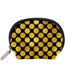 Circles2 Black Marble & Gold Paint (r) Accessory Pouches (small)  by trendistuff