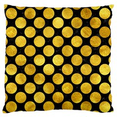 Circles2 Black Marble & Gold Paint (r) Large Flano Cushion Case (two Sides) by trendistuff