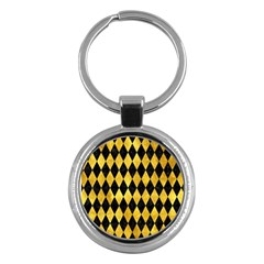 Diamond1 Black Marble & Gold Paint Key Chains (round)  by trendistuff