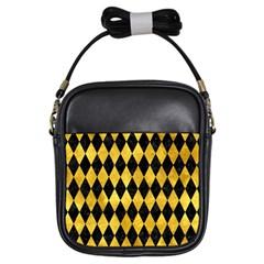 Diamond1 Black Marble & Gold Paint Girls Sling Bags by trendistuff
