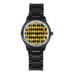 Diamond1 Black Marble & Gold Paint Stainless Steel Round Watch by trendistuff