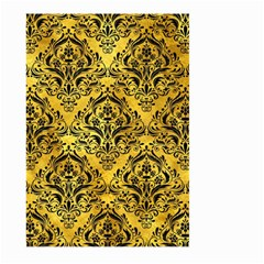Damask1 Black Marble & Gold Paint Large Garden Flag (two Sides) by trendistuff