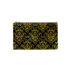 Damask1 Black Marble & Gold Paint (r) Cosmetic Bag (small)  by trendistuff