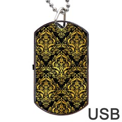 Damask1 Black Marble & Gold Paint (r) Dog Tag Usb Flash (one Side) by trendistuff