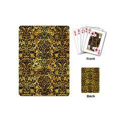 Damask2 Black Marble & Gold Paint Playing Cards (mini)  by trendistuff