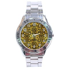 Damask2 Black Marble & Gold Paint Stainless Steel Analogue Watch by trendistuff