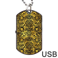 Damask2 Black Marble & Gold Paint Dog Tag Usb Flash (two Sides) by trendistuff
