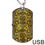 DAMASK2 BLACK MARBLE & GOLD PAINT Dog Tag USB Flash (Two Sides) Back