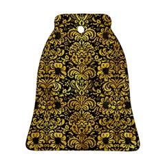 Damask2 Black Marble & Gold Paint (r) Ornament (bell)