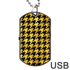Houndstooth1 Black Marble & Gold Paint Dog Tag Usb Flash (two Sides) by trendistuff