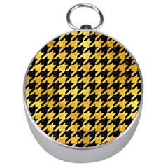 Houndstooth1 Black Marble & Gold Paint Silver Compasses by trendistuff