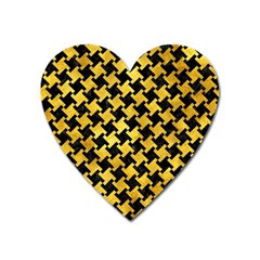 Houndstooth2 Black Marble & Gold Paint Heart Magnet by trendistuff