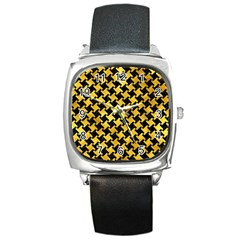Houndstooth2 Black Marble & Gold Paint Square Metal Watch by trendistuff
