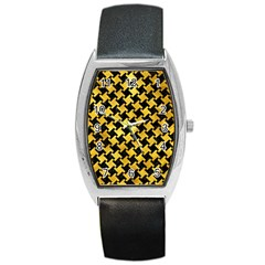 Houndstooth2 Black Marble & Gold Paint Barrel Style Metal Watch by trendistuff