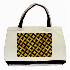 Houndstooth2 Black Marble & Gold Paint Basic Tote Bag by trendistuff