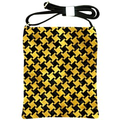 Houndstooth2 Black Marble & Gold Paint Shoulder Sling Bags by trendistuff