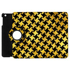 Houndstooth2 Black Marble & Gold Paint Apple Ipad Mini Flip 360 Case by trendistuff