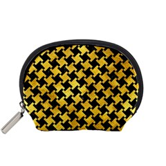 Houndstooth2 Black Marble & Gold Paint Accessory Pouches (small)  by trendistuff