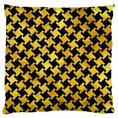 Houndstooth2 Black Marble & Gold Paint Large Flano Cushion Case (two Sides)