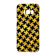 Houndstooth2 Black Marble & Gold Paint Samsung Galaxy S8 Hardshell Case  by trendistuff