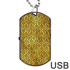 Hexagon1 Black Marble & Gold Paint Dog Tag Usb Flash (two Sides) by trendistuff