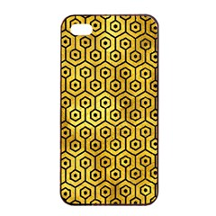 Hexagon1 Black Marble & Gold Paint Apple Iphone 4/4s Seamless Case (black) by trendistuff
