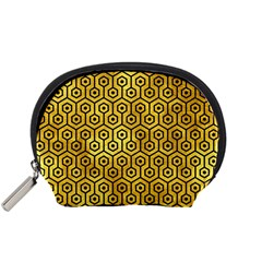 Hexagon1 Black Marble & Gold Paint Accessory Pouches (small)  by trendistuff