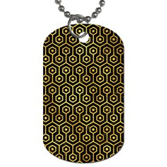 Hexagon1 Black Marble & Gold Paint (r) Dog Tag (one Side) by trendistuff