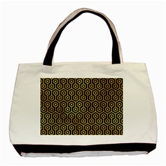 Hexagon1 Black Marble & Gold Paint (r) Basic Tote Bag by trendistuff