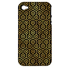 Hexagon1 Black Marble & Gold Paint (r) Apple Iphone 4/4s Hardshell Case (pc+silicone) by trendistuff
